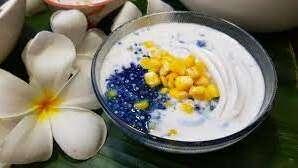 เมนูขนมหวาน ขนมไทย สาคูอัญชัน ข้าวโพด-มะพร้าวอ่อน